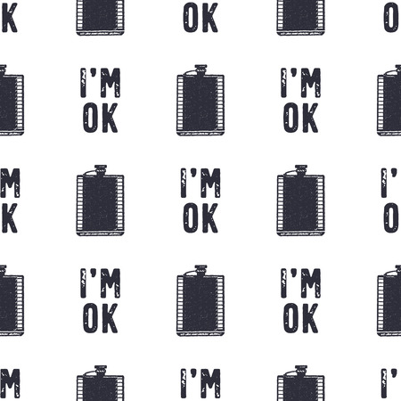 Vintage hand drawn funny pattern design. Seamless wallpaper with flask, typography sign - Im OK. Monochrome retro design. illustration. Use for fabric printing, web projects, t-shirts Stock Photo