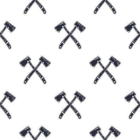 Vintage hand drawn crossed axes shape seamless. Retro monochrome lumberjack or mining pattern. Can be used for t shirts, prints, logotype, badges, icons and other identity. Stock . Stock fotó