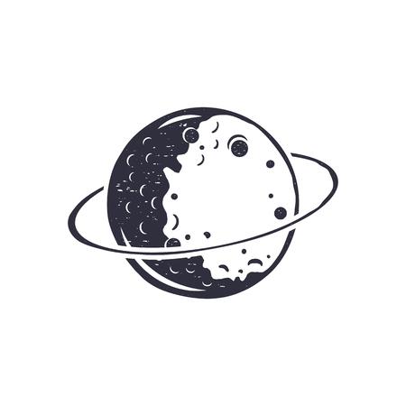 Vintage hand drawn moon symbol. Silhouette monochrome moon icon. Stock vector illustration isolated on white background. Retro design pictogram. Illustration
