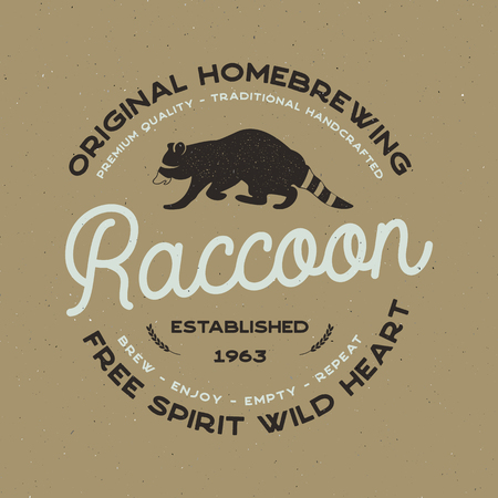 Wild animal badge with Raccoon and typography elements. Beer Logo templates for brewing company. Stock vector beer house label, emblem with letterpress effect Illustration