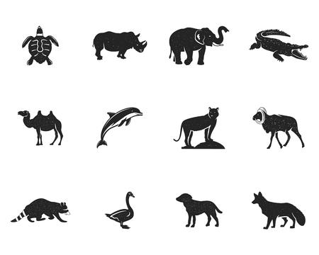 야생 동물 인물 및 셰이프 컬렉션 흰색 배경에 고립.