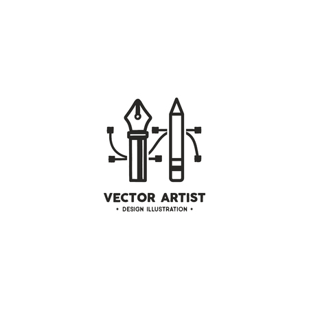 Vector artist logo template. Pencil and Pen Tool. Drawing tools. Badge, label for design agency, freelancers. Stock vector illustration isolated on white background.