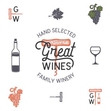 Wijn, wijnmakerij logo en pictogrammen, elementen. Drank, alcoholische drank symbool, monogram. Wijnfles, glas, druif, blad. Geweldige wijnen belettering. Voorraad vectorillustratie geïsoleerd op een witte achtergrond.