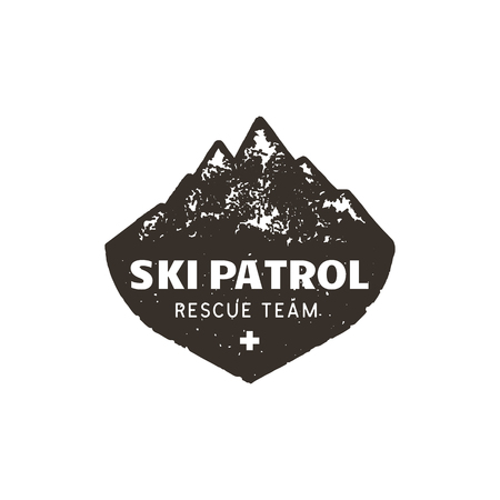 Vintage hand drawn mountain ski patrol emblem. Rescue team patch. Mountains stamp. Monochrome, grunge letterpress effect. Stock vector badge illustration isolated on white background