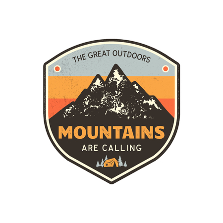Vintage hand drawn mountain emblem. The great outdoor patch. Mountains are calling sign quote. Retro colors and grunge letterpress effect. Stock vector badge illustration isolated on white background