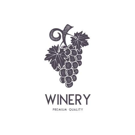 Wijn, wijnmakerij logo sjabloon. Drank, alcoholisch logo, dranksymbool, monogram. Vine pictogram en typografie. Wijnmakerij, premium kwaliteitsteken. Voorraad vectorillustratie geïsoleerd op een witte achtergrond. Stock Illustratie