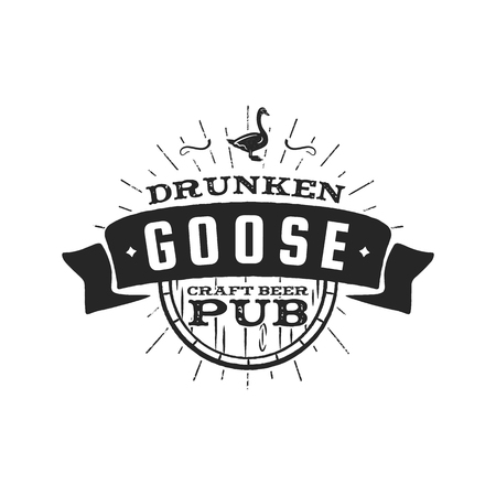 Vintage craft beer pub label, drunken goose brewery retro design element. Hand drawn emblem for bar and pub. Business signs template, icon, identity object stock vector isolate on white background.