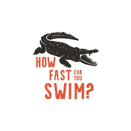 Krokodillogoschablone. Symbol des Alligators. Krokodil mit Text. Typografie-Ausweisdesign des wilden Tieres. Vintage handgezeichnete Insignien, Stempel. Vektorillustration auf Lager lokalisiert auf weißem Hintergrund Standard-Bild - 93893845