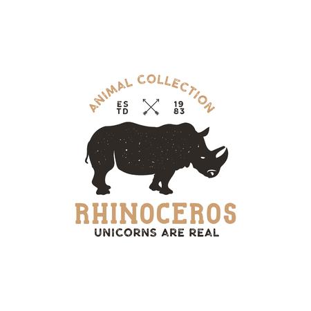 rhino wild animal logo template. Stock vector isolated