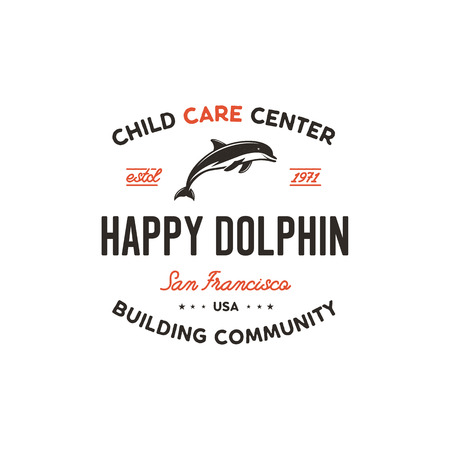Child care center emblem. Dolphin symbol, icon and typography design badge. Happy dolphin sign. Stock vector logo template isolated on white background
