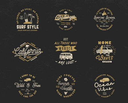 Vintage Surfing Graphics and Emblems set for web design or print. Surfer logo templates. Surf Badges. Summer fun typography insignia collection. Stock Vector hipster party patches, isolated on dark