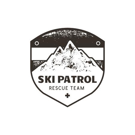 Vintage hand drawn mountain ski patrol emblem. Rescue team patch. Mountains stamp.