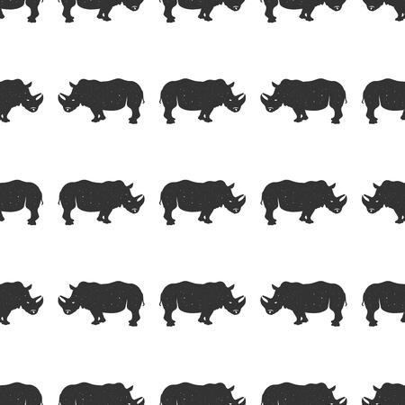 Rhino seamless. Wild animal wallpaper. Stock vector rhinoceros pattern isolated on white background. Monochrome Vintage hand drawn design