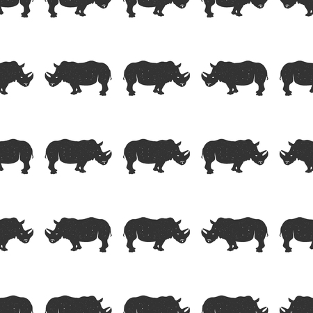 Rhino seamless. Wild animal wallpaper. Stock vector rhinoceros pattern isolated on white background. Monochrome Vintage hand drawn design