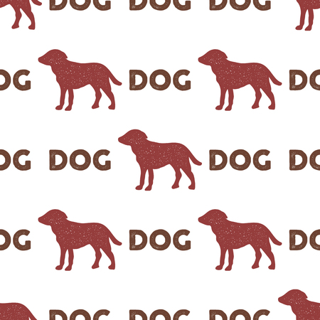 Year of the dog pattern. Symbol of 2018 seamless background. Dog icon and typography elements. Retro wallpaper. Stock vector illustration isolated on white background
