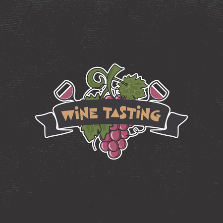 Wine tasting, winery logo template. Drink, alcoholic graffiti art, beverage symbol. Vine icon and typography design. Winery, premium quality sign. Stock vector illustration isolated on dark Illustration