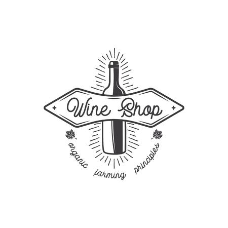 Wijnwinkel logo, label. Biologische wijnen principes teken. Wijngaard badge. Retro Drink symbool - fles wijn.