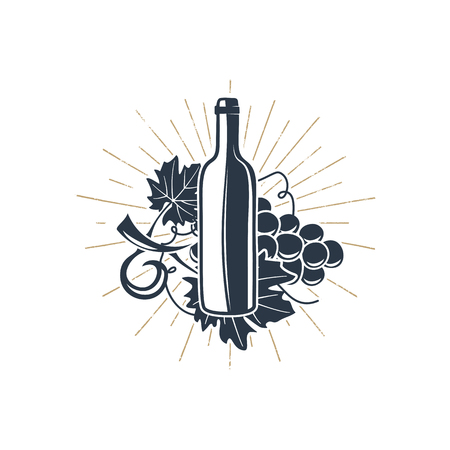 Black wine bottle and vine with sunbursts for vineyard logo, winery badge, wine club, bar, cafe or restaurant. Stock vector silhouette icons, symbols isolated on white background