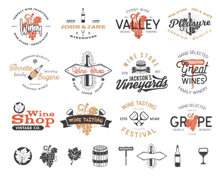 Wine logos, labels set. Winery, wine shop, vineyards badges collection. Retro Drink symbol. Illustration