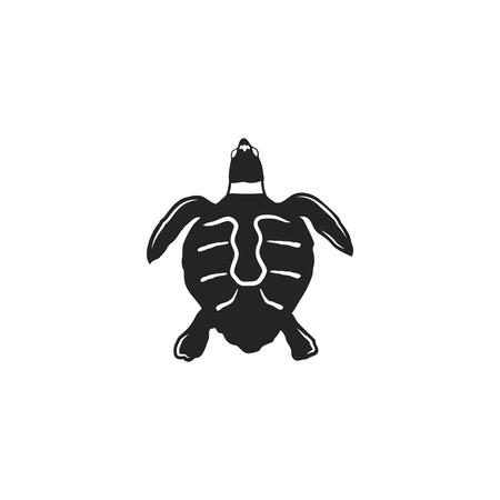カメのシルエット形状。野生動物の黒いアイコン。ストックベクトルイラスト。ヴィンテージ手描きスタイル。レトロなデジガン  イラスト・ベクター素材