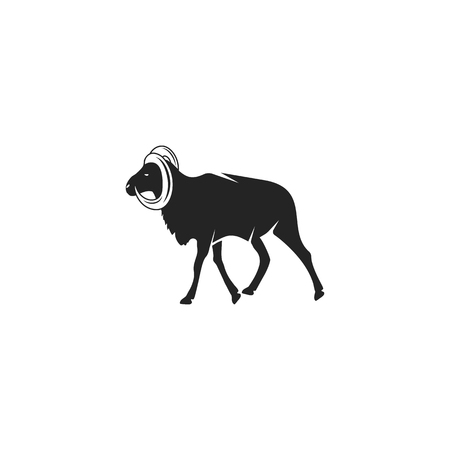 Wild Goat silhouette icon design. Wild animal black pictogram isolated. Stock vector concept