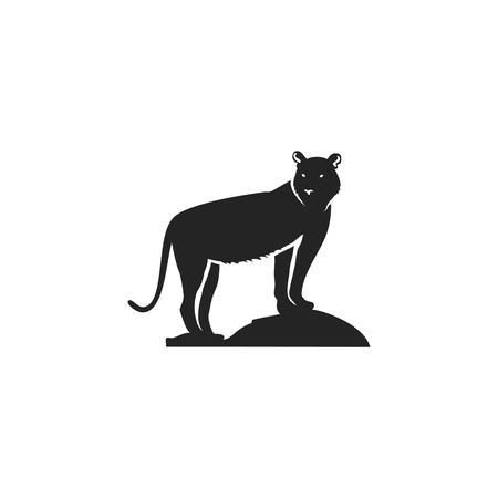 Tiger black icon. Silhouette symbol of tiger isolated on white background.