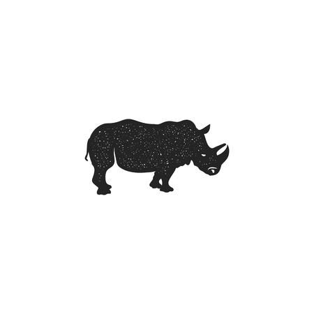 Rhino icon silhouette design. Wild animal symbol and element isolated on white background.