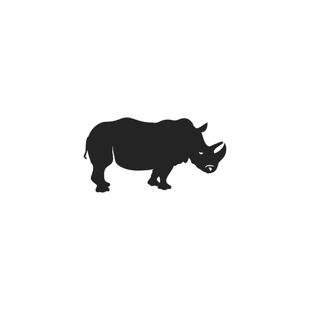 Rhino black icon. Rhinoceros silhouette symbol isolated on white background.