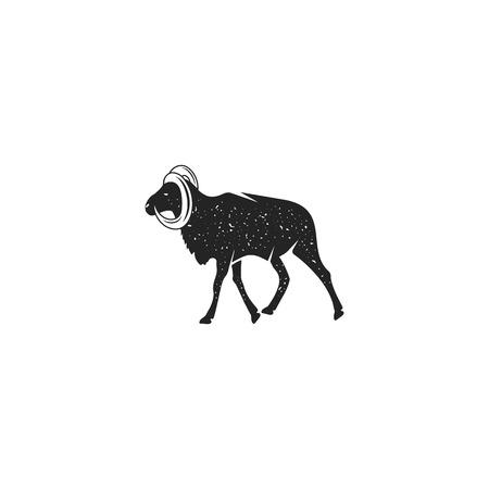 Wild goat silhouette shape. Vintage hand drawn wild animal icon, symbol isolated on white background.