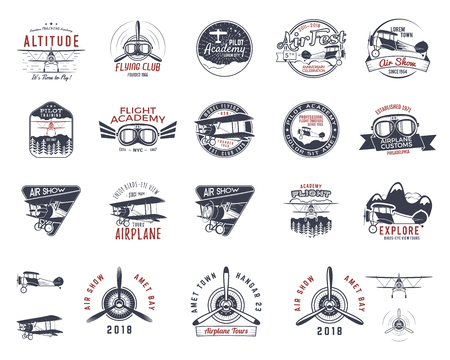 Vintage hand drawn old fly stamps. Travel or business airplane tour emblems. Biplane academy labels. Retro aerial badge isolated. Pilot school logo. Plane tee design, prints, web design. Stock vector