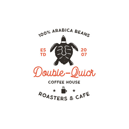 Roasters and cafe logo template with turtle, cup silhouette symbol. Wild animal icon. Coffee bar logotype, vintage hand drawn badge, label. Typography insignia. Stock vector isolated. Illustration