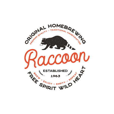 Wild animal badge with Raccoon and typography elements. Beer Logo template for brewing company.