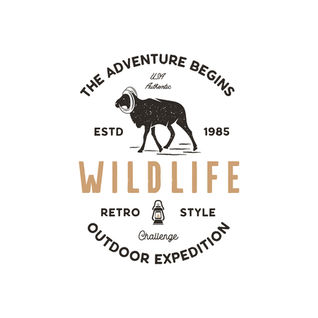 Adventure logo design. Camping adventures badge template. Wild goat typogaphy insignia concept. Vintage hand drawn silhouette shape of wild animal. Stock vector isolated on white background Vettoriali