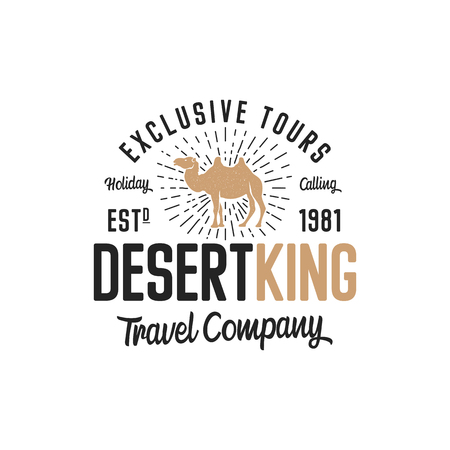 Camel logo template concept. Travel company logotype. Desert king text quote. Exclusive tours vacation business emblem. Stock vector badge isolated on white background.