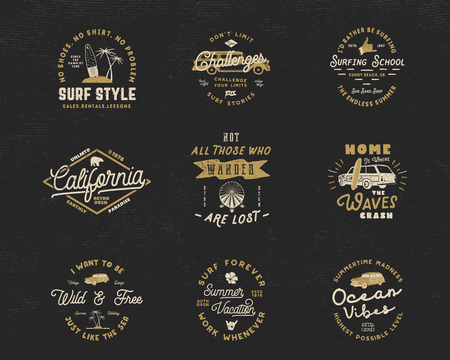 Vintage Surfing Graphics and Emblems set for web design or print. Surfer logo templates. Surf Badges. Summer fun typography insignia collection. Stock Vector hipster party patches, isolated on dark. Illustration