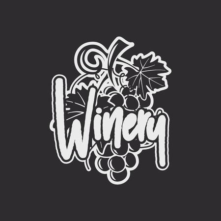 Wine, winery logo template. Drink, alcoholic graffiti art, beverage symbol. Vine icon and typography design. Winery, premium quality sign. Stock vector label illustration isolated on dark background.