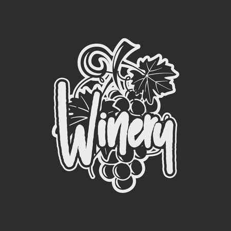 Wijn, wijnmakerij logo sjabloon. Drank, alcoholische graffitikunst, dranksymbool. Wijnstokpictogram en typografieontwerp. Wijnmakerij, premium kwaliteitsteken. Voorraad vector label illustratie geïsoleerd op donkere achtergrond.