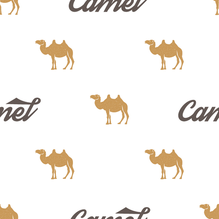 Camel pattern. Seamless background illustration with wild animal symbols, elements. Monochrome silhouette design. Stock vector seamless pattern isolated on white.