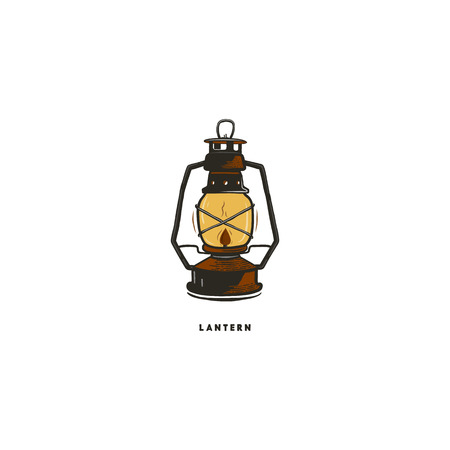 Vintage hand drawn lantern concept. Perfect for logo design, badge, camping labels. Retro colors. Symbol for outdoor activity emblems. Stock vector illustration isolated on white background. Illustration