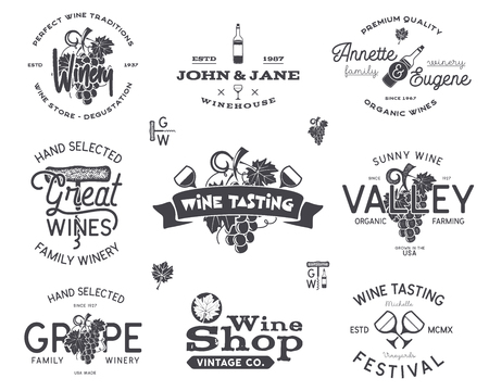 Wine logos, labels set. Winery, wine shop, vineyards badges collection. Retro Drink symbol. Typographic hand drawn design illustration. Stock vector emblems and icons isolated on white background.