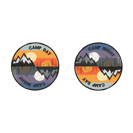 Camp day and camp night outdoor adventure concept. Unique camping emblem, badge. Included mountains, tent, bonfire, eagle symbols and elements. Letterpress effect. Stock vector illustration isolated.