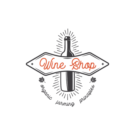 Wine shop logo template concept. Wine bottle, leaf, sunbursts and typography design. Stock vector monochrome emblem for winery, wine shop logotype, store isolated on white background
