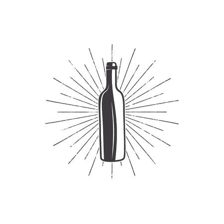 ブドウ園のロゴ、ワイナリーバッジ、ワインクラブ、バー、カフェ、レストラン用のサンバースト付きの黒ワインボトル。ストックベクターシルエ
