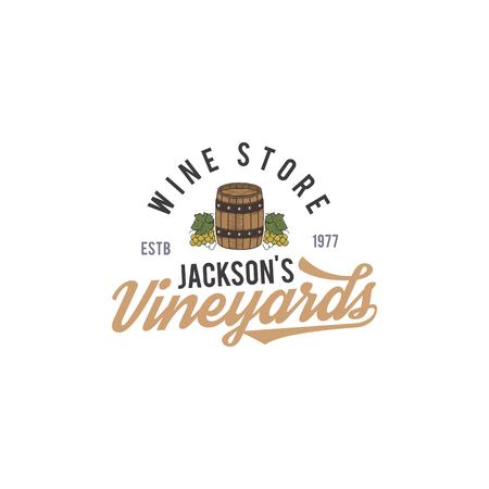 Logo del negozio di vini, etichetta. Vini biologici. Distintivo di vigneto. Simbolo della retro bevanda - botte di vino, viti. Illustrazione vettoriale design tipografico. Emblema di vettoriali stock isolato su sfondo bianco Archivio Fotografico - 95366326