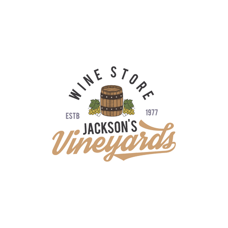 Wine shop logo, label. Organic wines.Vineyard badge. Retro Drink symbol - wine barrel, vines. Typographic design vector illustration. Stock vector emblem isolated on white background Illustration