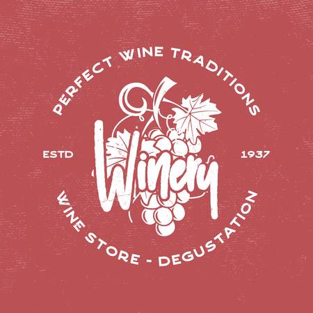 Wine, winery logo template. Drink, alcoholic graffiti art, beverage symbol. Vine icon and typography design. Winery, premium quality sign. Stock vector illustration isolated on retro red background Stock Illustratie