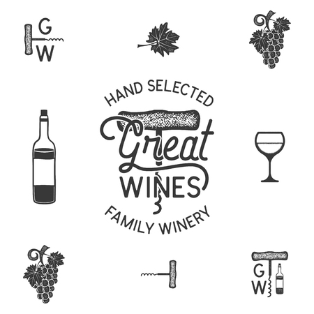 Wine, winery logo and icons, elements. Drink, alcoholic beverage symbol, monogram. Wine bottle, glass, grape, leaf. Great wines lettering. Stock vector monochrome illustration isolated on white