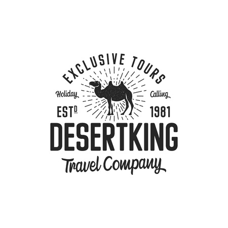 Camel logo template concept. Travel company logotype. Desert king text quote. Exclusive tours vacation business emblem. Stock vector badge, logo mark isolated on white background Çizim