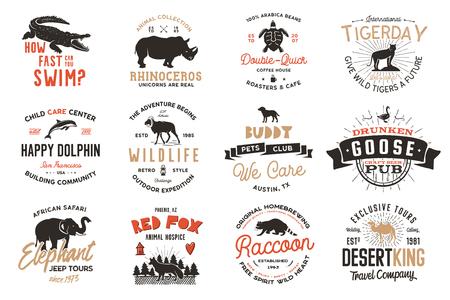 Ensemble d'insignes d'animaux sauvages et insignes d'activités de plein air. Illustration rétro des badges animaux. Style de camping typographique. Logos d'animaux sauvages de vecteur avec effet typographique. Citations de l'explorateur Logo