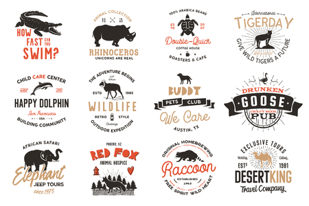 Wild animal Badges set and great outdoors activity insignias. Retro illustration of animal badges. Typographic camping style. Vector wild Animal logos with letterpress effect. Explorer quotes Ilustracja